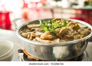 Vegan hotpot at a street-side restaurant in vietnam
