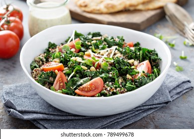 Vegan kale and quinoa salad with tomatoes