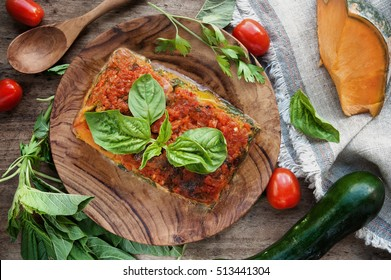 Vegan lasagna with vegetables. View from above