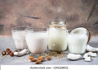 Vegan non dairy alternative milk. Coconut, almond, hazelnut, oat homemade milk.