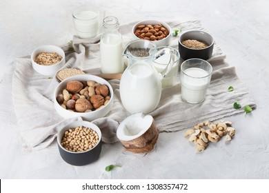 Vegan non diary milk. Alternative types of milks. Vegan food concept
