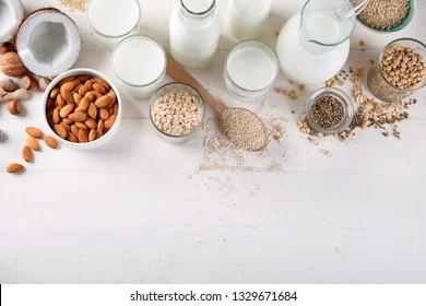 Vegan non diary milk. Alternative types of milks. Vegan food concept. Top view with copy space