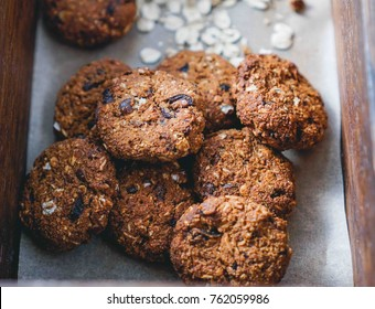 Vegan Oatmeal Cookies with Dates. Selective focus, Toning. Close up.
