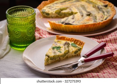 vegan pie with asparagus on the plate