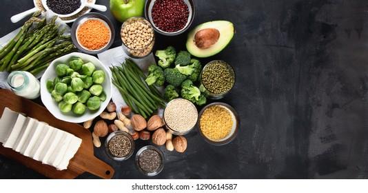 Vegan protein source. Healthy diet vegetarian food.Top view with copy space
