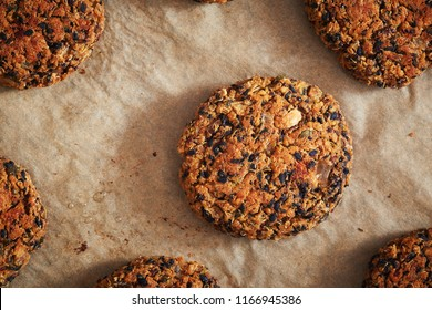 Vegan quinoa and bean burgers made with beans, quinoa, nori algae, oats, smoked peppers and onions