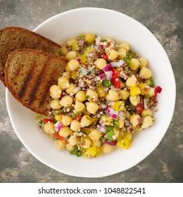Vegan quinoa salad with chickpeas