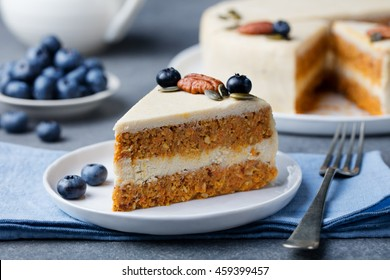 Vegan, raw carrot cake. Healthy food. Grey stone background Top view Copy space. Selective focus