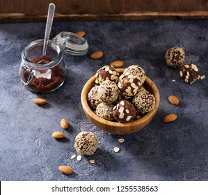 Vegan raw energy balls with nuts and cocoa, healthy sweets, sugarfree, clean eating