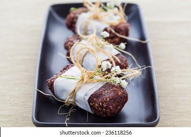 Vegan raw hemp and cocoa protein bars