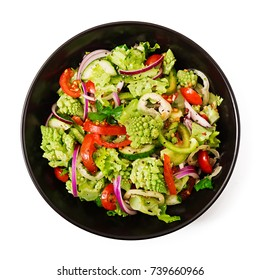 Vegan salad of fresh vegetables and cabbage romanesko isolated white background. Dietary menu. Proper nutrition. Flat lay. Top view