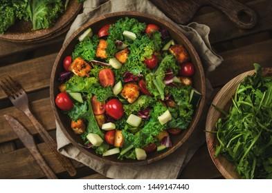 Vegan salad with kale and tofu, zero waste