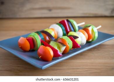 Vegan skewers on a plate