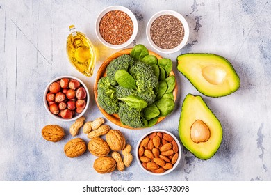 Vegan sources of omega 3 and unsaturated fats. Concept of healthy food. Top view.