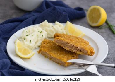 Vegan soy protein schnitzel, cut