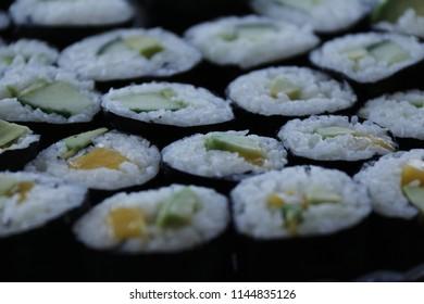 Vegan sushi with Mango, Squash and Avocado