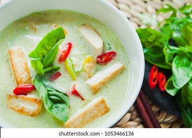 Vegan Thai Grenn Curry with coconut, Fried Tofu, Lime, lemongrass, Chili and fresh basil.