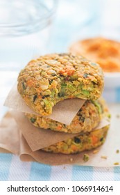 Vegan vegetable cookies. Carrot & pumpkin  seed veggie bites with carrot & cannelloni bean houmous