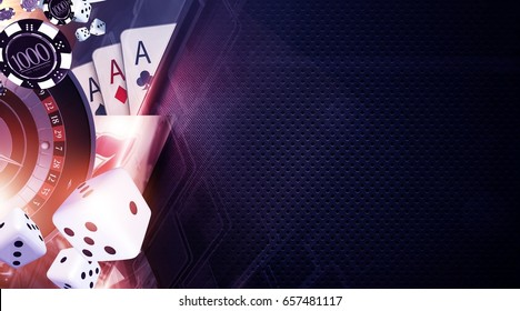 Vegas Games Background. Casino Gambling Banner Backdrop Concept.