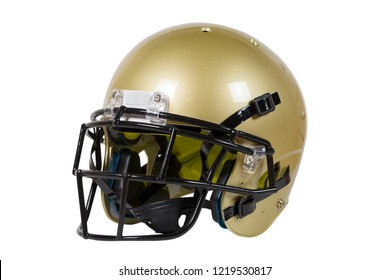 Vegas Gold American football helmet isolated on white with clipping path