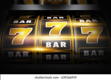 Vegas Slot Winner 3D Concept Illustration. Classic Las Vegas Style Slot Machine Closeup. Golden Black Theme.