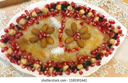 """Vegatarian food dish. This is """"Asure"""" , Turkish people believe """"asure"""" is coming from Noah's ship. They prepare this food in Noah's Ark."""