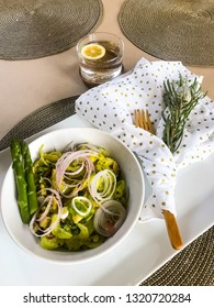 Vegeable salad as breakfast with asparagus and avocado