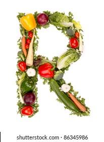 """Vegetable alphabet letter """"R"""""""
