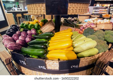 Vegetable basket arranged by type and colour - Shutterstock ID 1650222202