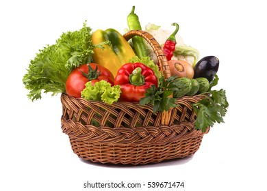 vegetable basket on the white background