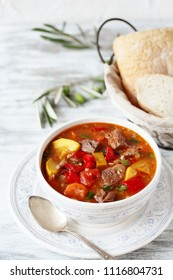 Vegetable Beef Soup. soup minestrone with meat.