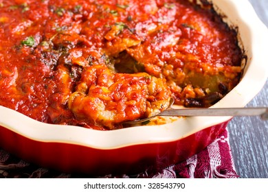 Vegetable and cheese bake in tomato sauce