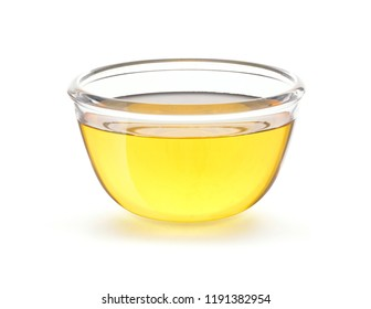 Vegetable Cooking Oil in glass bowl isolated on white background with clipping path