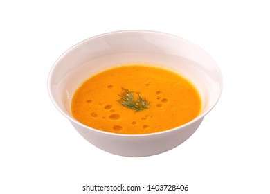 Vegetable cream soup on the white background