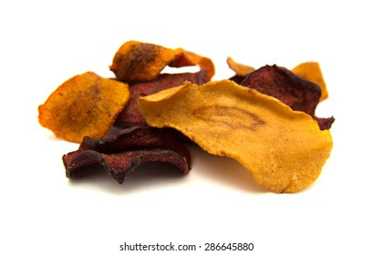 vegetable crisps - parsnip, carrot, beetroot - isolated on white background
