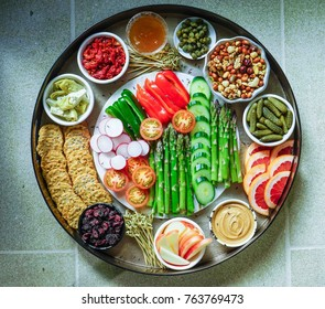 Vegetable Crudites and Dips, Assorted Appetizers Platter. Toning.