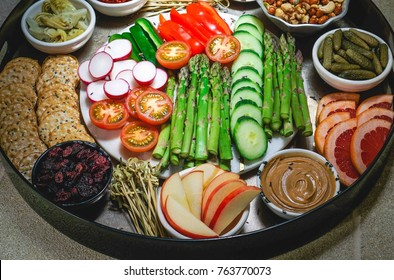 Vegetable Crudites and Dips, Assorted Appetizers Platter. Toning. Selective focus, Close up.