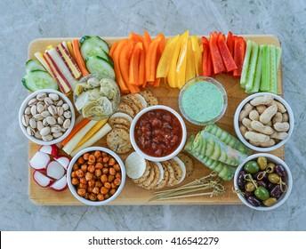 Vegetable Crudites and Dips/ vegetable platter, healthy eating