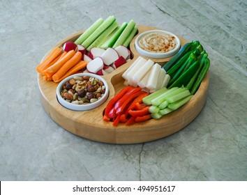 Vegetable Crudites and Dips/ vegetable raw vegan platter, healthy eating. Selective focus, toning.