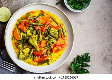 Vegetable curry with coconut milk bowl.