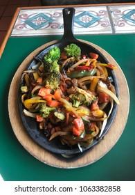 Vegetable Fajitas Platter on a Skillet