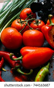 Vegetable food organic pepper tomato background vegetarian concept