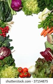 A vegetable frame on white