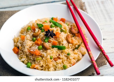 vegetable fried rice served in a plate