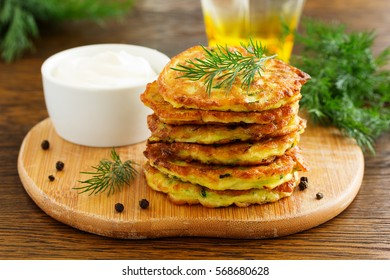 Vegetable fritters of zucchini.