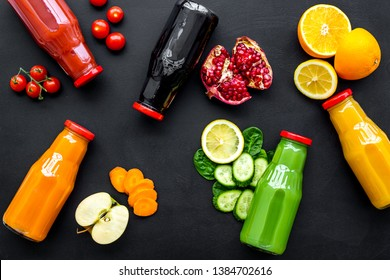 vegetable and fruit juice in bottles for diet drink on black background top view mock up