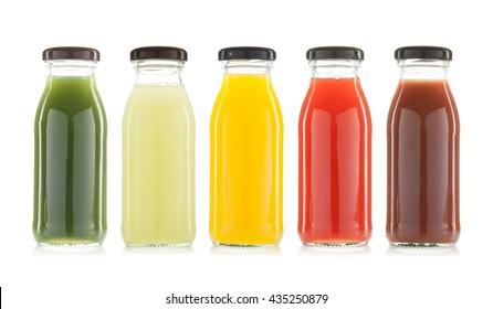vegetable and fruit juice bottles isolated on white background