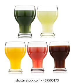 Vegetable and fruit juice glass isolated on white background
