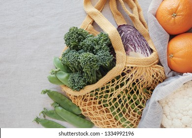 vegetable and fruit in reusable bag, Green eco living sustainable and zero waste concept, plant based vegan food