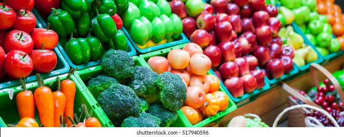 vegetable and fruits at a market.